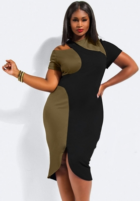 Plus Size Sloping Shoulder Color-Block Bodycon Dress Black & Army Green