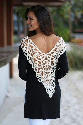 Casual Backless Lace Embroider Long Sleeve Women T-Shirt Black