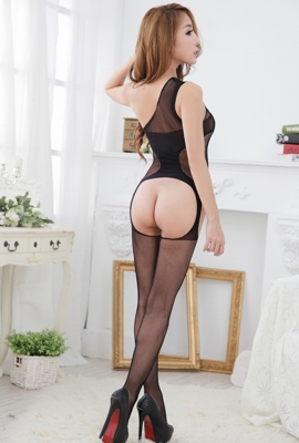 Stylish Women Mesh Hollow Out Lingerie Translucent Body Stocking Black