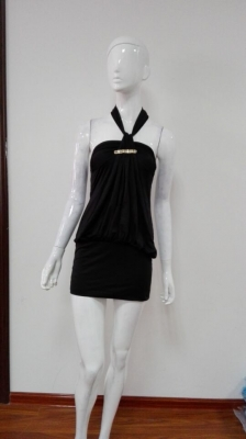 Women Halerneck Mini Dress Black