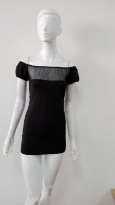Slash Neck Women Dress Black