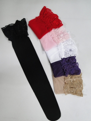 Flowers Lace Long Stockings Black