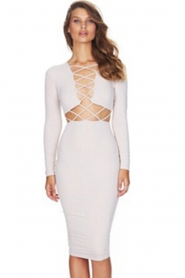 New Arrival Sexy Glamour Long Sleeves Strappy Crossing Bandage Dress White