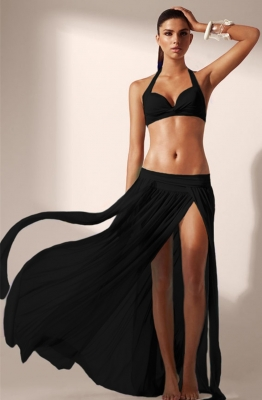 Black Elegant Mesh Maxi Skirt Cool Beachwear