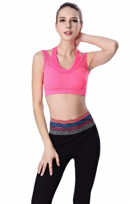 Women Sporty Yoga Vest Joggers Bra Rosy Red