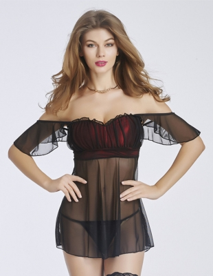 Black and Red Off-shoulder Blackless Midi Sleeve Babydoll Pre-sale