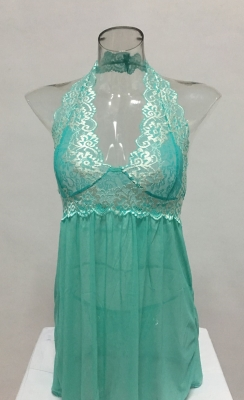 Wholesale Plus Size Babydoll Sexy Women Mesh Lace V-Neck Lingerie Green