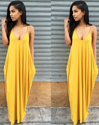 New Arrival Low Neck Strappy Lady Leisure Sleeveless Long Dress Yellow