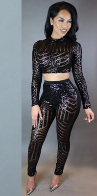 Hot Sequinded Long Sleeve Two Pieces Jumpsuit