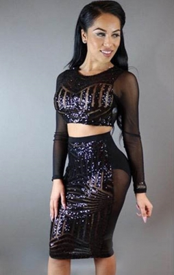 Newest Two Pieces Long Sleeve Transparent Bodycon Dress
