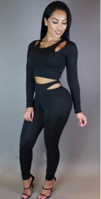 Wholesale Sexy Hollow out Jumpsuit Black
