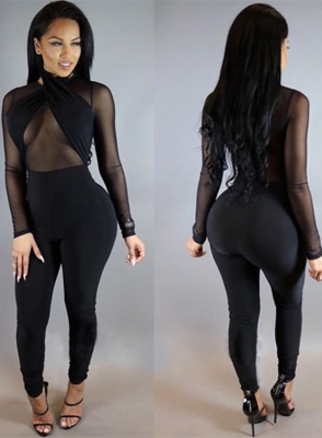 Sexy Fashion One Piece With Long Sleeves Women Transparent Jumpsuits Black