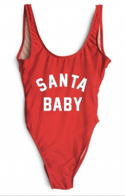 Fashion One Piece Letter Printed Bikini SANTA BABY