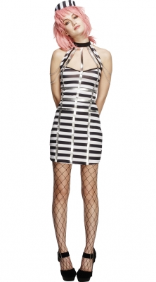 Newest Sexy Halterneck With Backless Stripes Dress Of Women Prisoner Cosplay For Halloween Costume