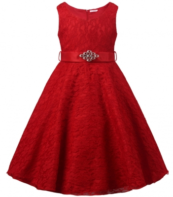 Girls Lace V Neck Flower Girl Dress for Wedding Party Ball Gown Red