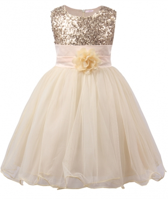 Little Girls' Sequin Mesh Flower Ball Gown Party Dress Tulle Prom Gold