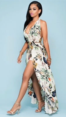 Women's Sexy Deep V-Neck Spaghetti Backless Floral Print Maxi Dress