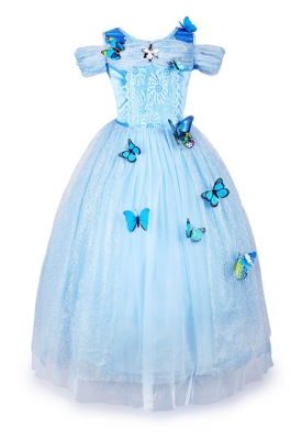 Girls Kids Blue Princess Cinderella Costume Cosplay Fancy Short Sleeve Butterflies Dress