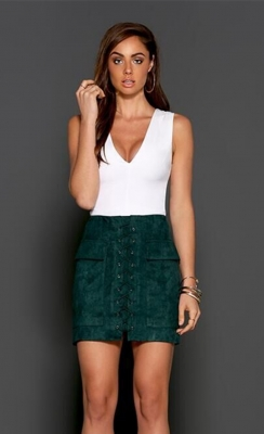 Women's Vintage Lace Up High Waist Bodycon Faux Suede Mini Skirt Green