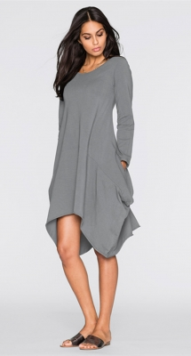 Women's Basic Long Sleeve Pockets Casual Swing Plain Tshirt Dress Grey