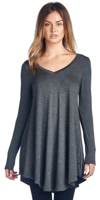 Womens Long Sleeve Round Neck Tunic Dress Grey