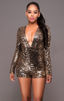 Women's Gold Sequin Plunging V Jumpsuit Playsuit Romper Gold