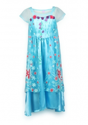 New Princess Party Dress Costume With Flower Cape Blue