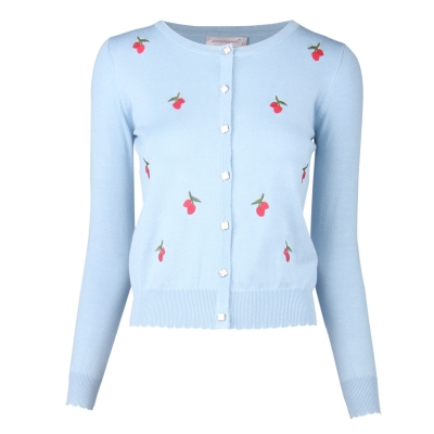 Womens Button Down Long Sleeve Knit Cherry Basic Cardigan Sweater Blue