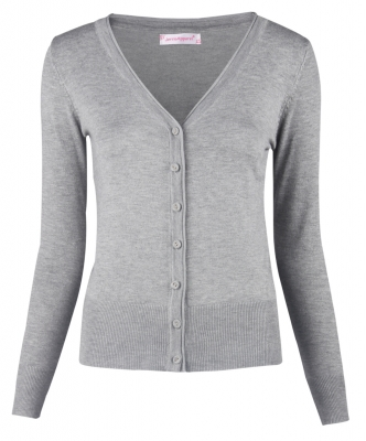 Women Button Down Long Sleeve Basic Soft Knit Cardigan Sweater Grey
