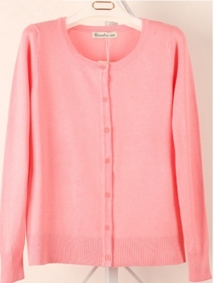 Women Button Down Crew Neck Long Sleeve Soft Knit Cardigan Sweater  Pink