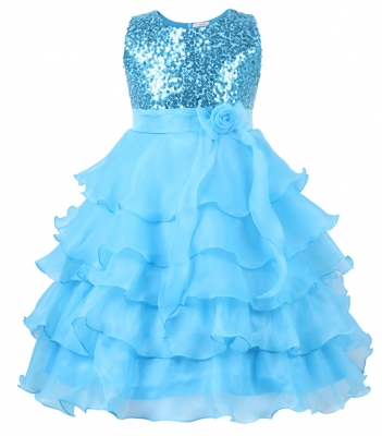 Flower Girl's Dress Sequins Tulle Wedding Pageant Dance Dress Blue