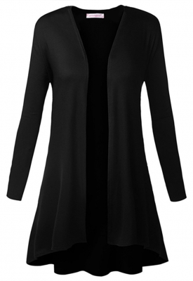 Womens Open Front Long Sleeve Slim Soft Draped Cardigan