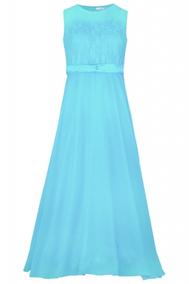 Big Girls Lace Chiffon Bridesmaid Dress Dance Ball Party Maxi Gown Blue