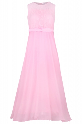 Big Girls Lace Chiffon Bridesmaid Dress Dance Ball Party Maxi Gown Pink