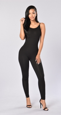 Women Spaghetti Strap Bodycon Tank One Piece Jumpsuits Black
