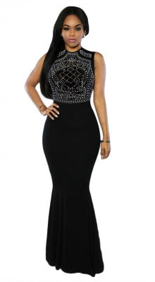 Women Sleeveless Rhinestone Mesh Maxi Bodycon Dress Black