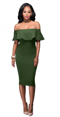 Women Ruffle Slash Neck Sexy Off Shoulder Bodycon Midi Dress Green