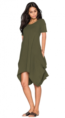 2017 Womens Short Sleeve Hi Low Draped Swing Loose Casual Flared Midi Dress Army Green