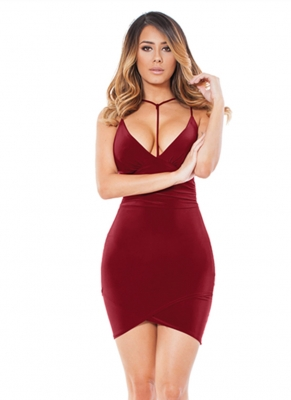 2017 Women's Sexy Strappy V-Neck Halter Backless Bodycon Party Dress Red