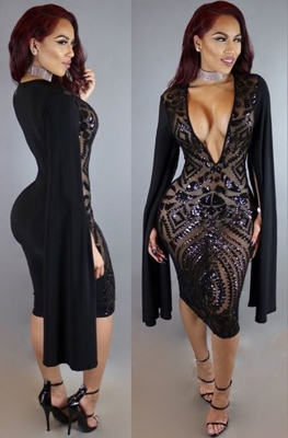 2017 Seductive Women V-neck Sequins Patchwork Long Slit Batwing Sleeves Bodycon Dress