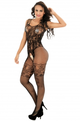 Strappy Shoulders Floral Motif Mesh Body Stockings