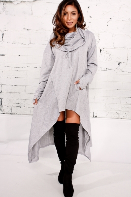 Light Gray Plain Drawstring Irregular Oversize Hoodie