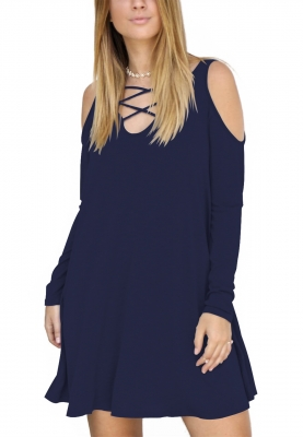 Royalblue Hollow V-Neck Long Sleeve Pocket Full Cotton Dress
