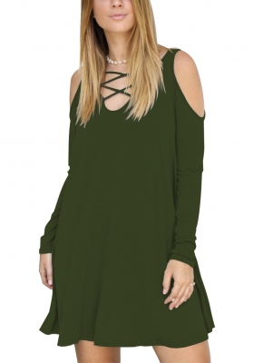 Army Green Hollow V-Neck Long Sleeve Pocket Full Cotton Dress