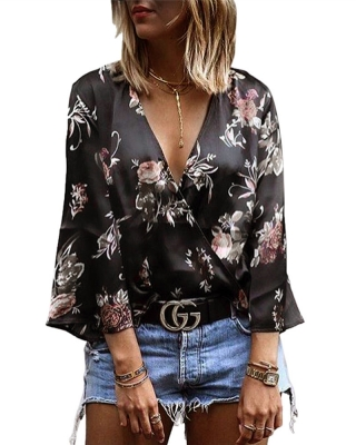 Floral Sexy Low Collar Top