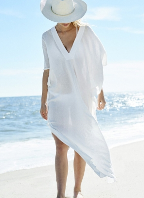 Chiffon V-Neck Loose Beach Cover-Ups Dress