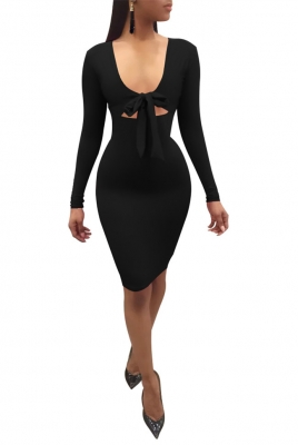 Long Sleeve Holllow-out Dress