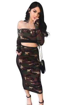 Fashion Strapless Casual Camouflage Dress Suit