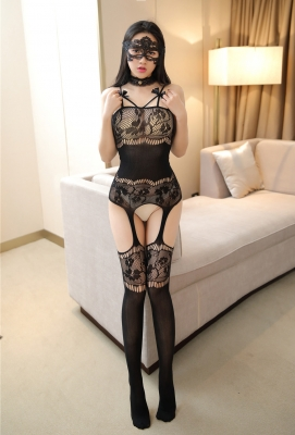 Women Floral Print Sexy Sheer Body Stockings