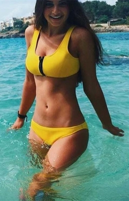 Yellow Two-piece Chest Zip Solit Color Bikini swimsuit